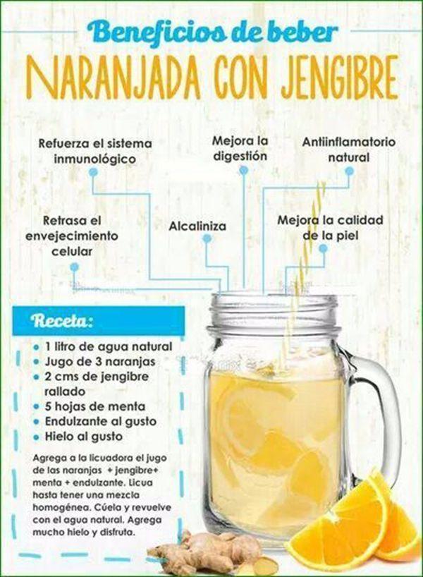 Gran combinacion para fortalecer la salud. La naranja es un gran antioxidante y el jengibre tiene propiedades anti-inflamatorias. Además está delicioso ¿Qué más se puede pedir? #infografias #jugosverdes #jengibre #salud