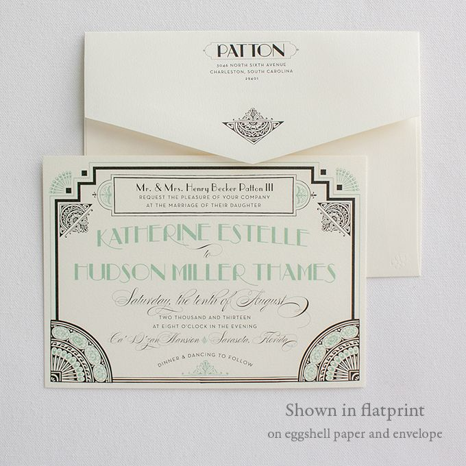 Beautiful Art Deco Invitations | Gatsby | Lucky Luxe Couture Correspondence | Letterpress Wedding Stationery