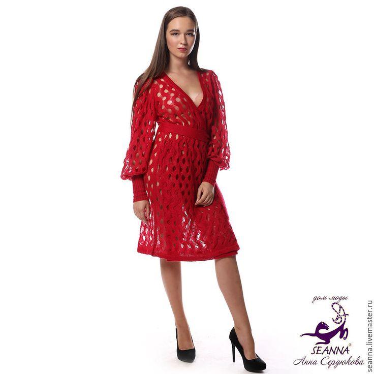 """Купить Платье-пальто вязаное """"Рубиновые волны"""" из мягкого итальянского мохера - платье, платье вязаное"""