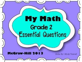 This pack contains the 2nd grade Essential Questions for each chapter for My Math By McGraw-Hill. These posters are great to hang on a math focus board.