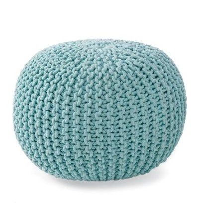 Amazon.com: Hand-Knitted Pouf Ottoman, in Light Blue: Home & Kitchen