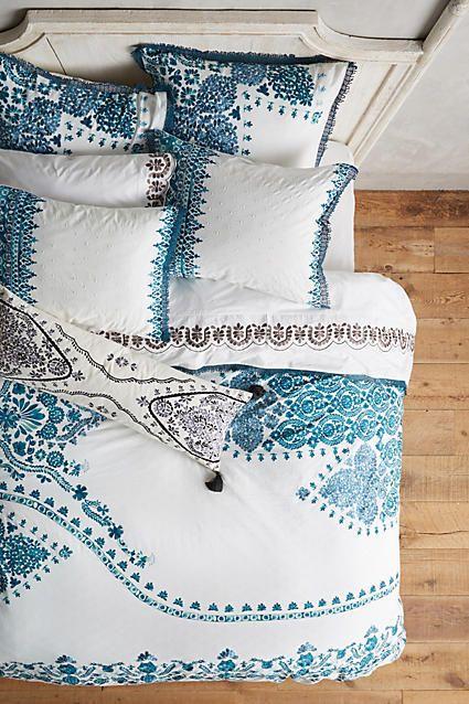 My tween would love this bedspread. Comforter. Bedding. Tween room inspiration.  Anthropologie Oakbrook Duvet #afflink