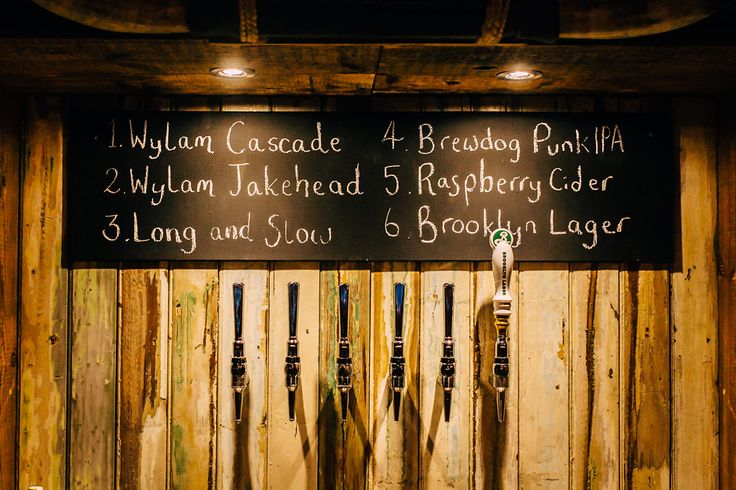 Back Bar Beer Taps. Chalkboard menu.