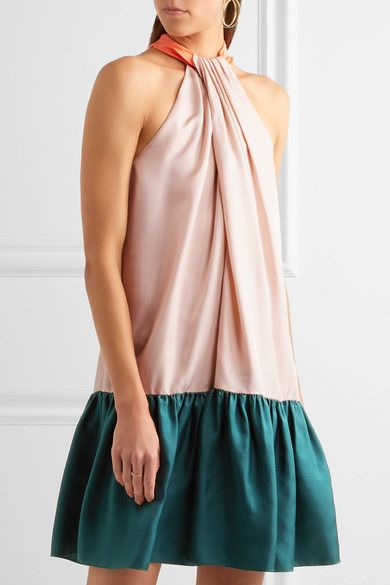 Roksanda - Elva Color-block Silk-twill Halterneck Dress - Blush - UK
