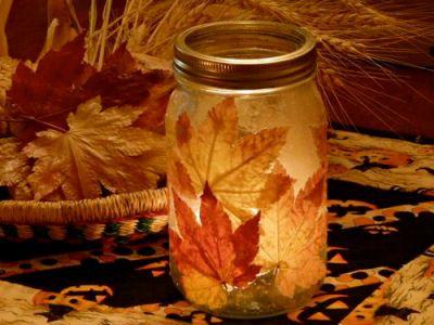 Mason Jar Fall leaf Candle Holder
