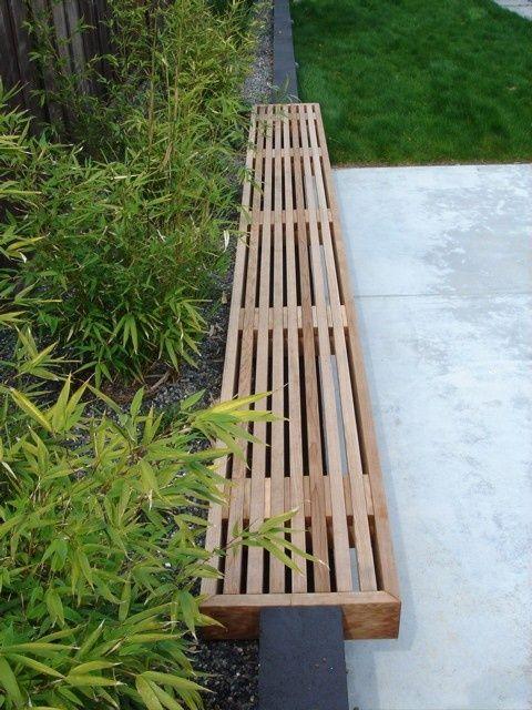 timber bench, Eichler yard, mid-century modern bench