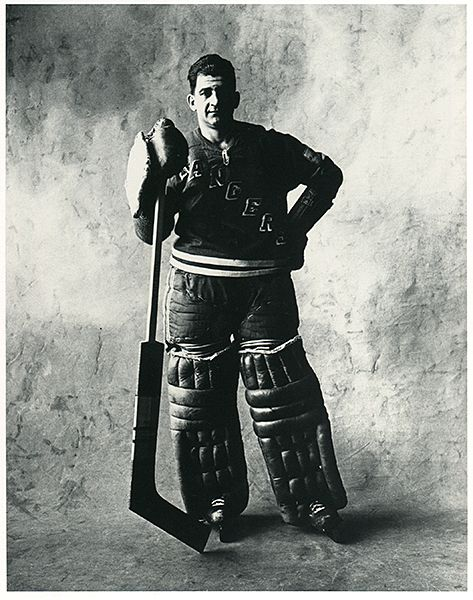 """Chuck Rayner -snip- """"...In the early 1950s, photographer Irving Penn took a series of portraits showing everyday people dressed in their work clothes."""" This print is simply titled """"Hockey Goalie"""" - http://puckjunk.com/2014/06/20/five-photo-friday-june-20-2014/"""