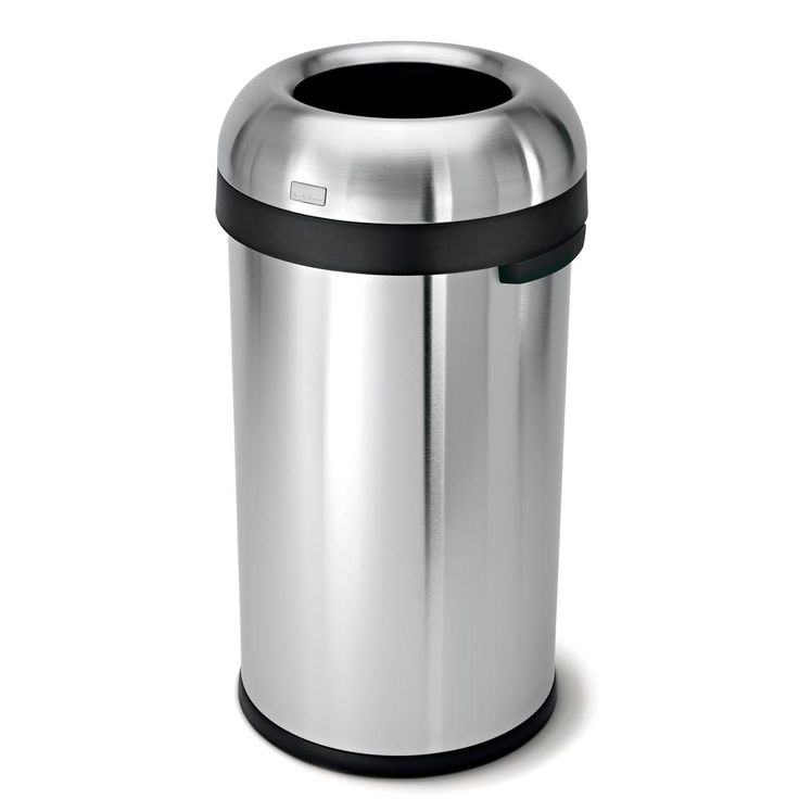 60 l Brushed Stainless Steel Bullet Open Top Trash Can, Silver Metallic