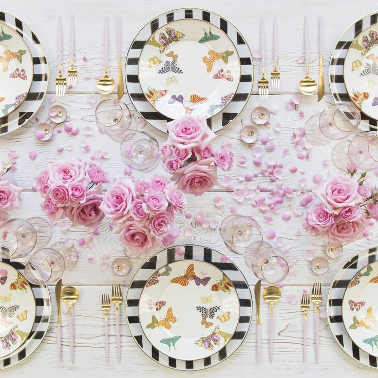 Another fun tablescape with the sane butterfly plates: Christian Lacroix Sol Y Sombra Charger + MacKenzie-Childs Butterfly Garden Collection + Goa Flatware in 24k Brushed Gold/Pink Flatware + Bella 24k Gold Rimmed Stemware in Blush + Pink Enamel Salt Cellars + Tiny Gold Spoons  SHOP: Christian Lacroix Sol Y Sombra Charger + Goa Flatware in 24k Brushed Gold/Pink Flatware + Bella 24k Gold Rimmed Stemware in Blush + Pink Enamel Salt Cellars + Tiny Gold Spoons