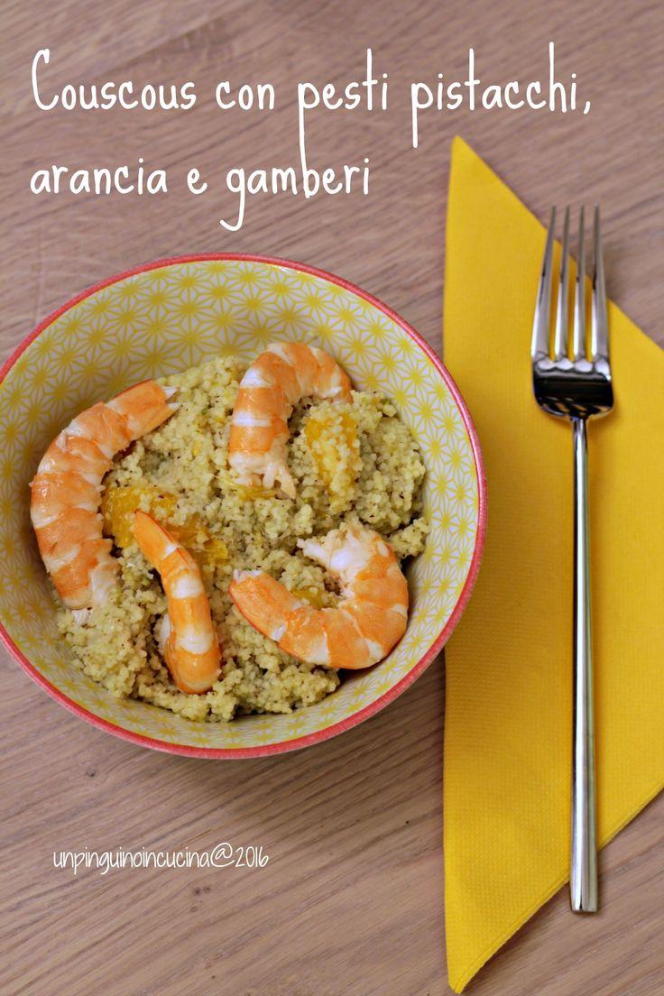 Couscous con pesto di pistacchi, arancia e gamberi | Couscous mit Pistazienpesto, Orange und Garnelen | Un Pinguino in cucina