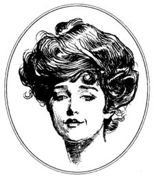 """Irene Adler, 1891, illustration by Charles Dana Gibson; """"To Sherlock Holmes she is always THE woman."""" (A Scandal in Bohemia by Sir Arthur Conan Doyle)"""
