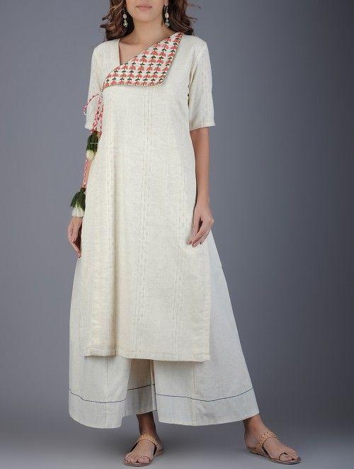 Ivory Handwoven Khadi Kurta with Embroidery