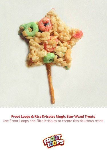 Create this delicious and whimsical Froot Loops and Rice Krispies® Magic Star Wand with your Child.