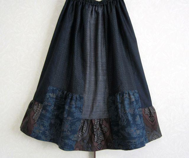 着物リメイク♪5種の大島紬からの可愛いスカート(裏地付き)の画像1枚目