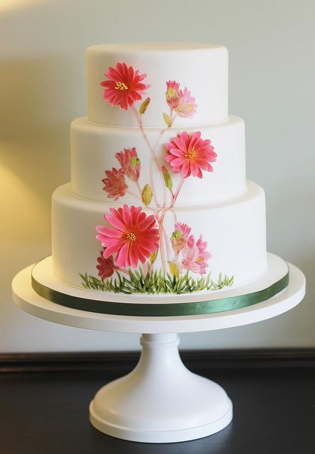 Sugar paste flower & hand painted flower wedding cake. I think it's a very unique idea to combine the two together like this.  Very pretty.  ᘡղbᘡ