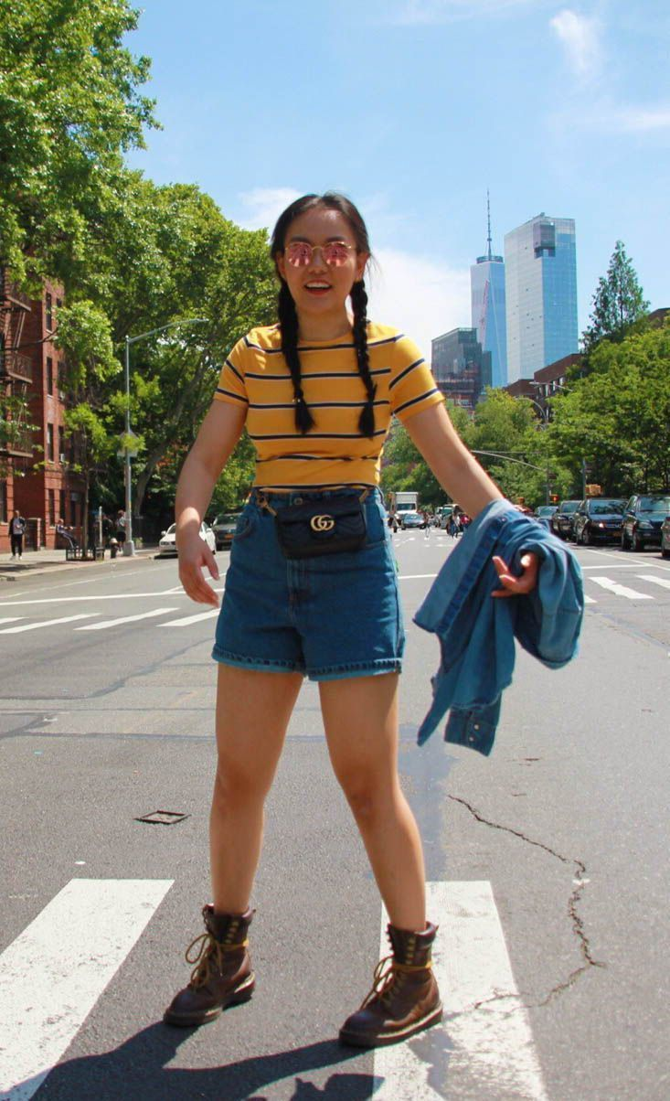 4441f4b332fa Multicolors Striped T-shirt with Mom Shorts. Gucci Belt Bag and Dr. Martens  Boots. Yesterday, I decided to shoot this 90's look at the 'Friends' ...
