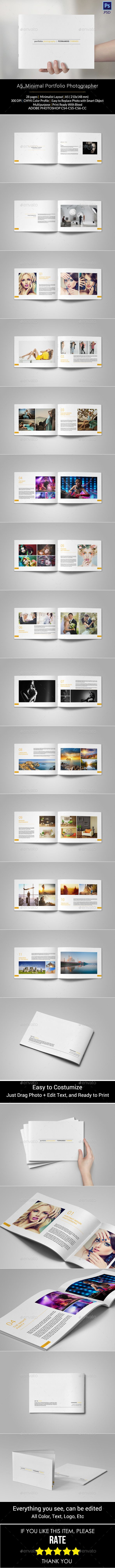 Portfolio Photographer — Photoshop PSD #simple #print template • Available here → https://graphicriver.net/item/portfolio-photographer/11063387?ref=pxcr