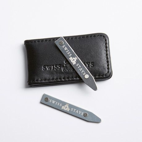 STAINLESS STEEL COLLAR STAY + LEATHER POUCH $8.99 Collar stays are the final touch that every dapper man needs. Why get them in stainless steel? It does not readily corrode, rust or stain with water as ordinary steel does. Stainless steel is used for buildings for both practical and aesthetic rea...