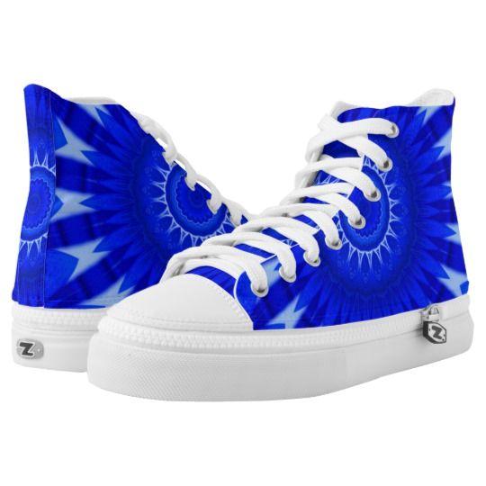 Dark Blue Mandala Zipz High Top Shoes by www.zazzle.com/htgraphicdesigner* #zazzle #gift #giftidea #shoes #mandala #kaleidoscope #abstract #summer #blue