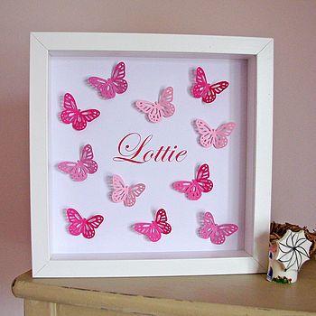 Pink Paper Butterflies Art