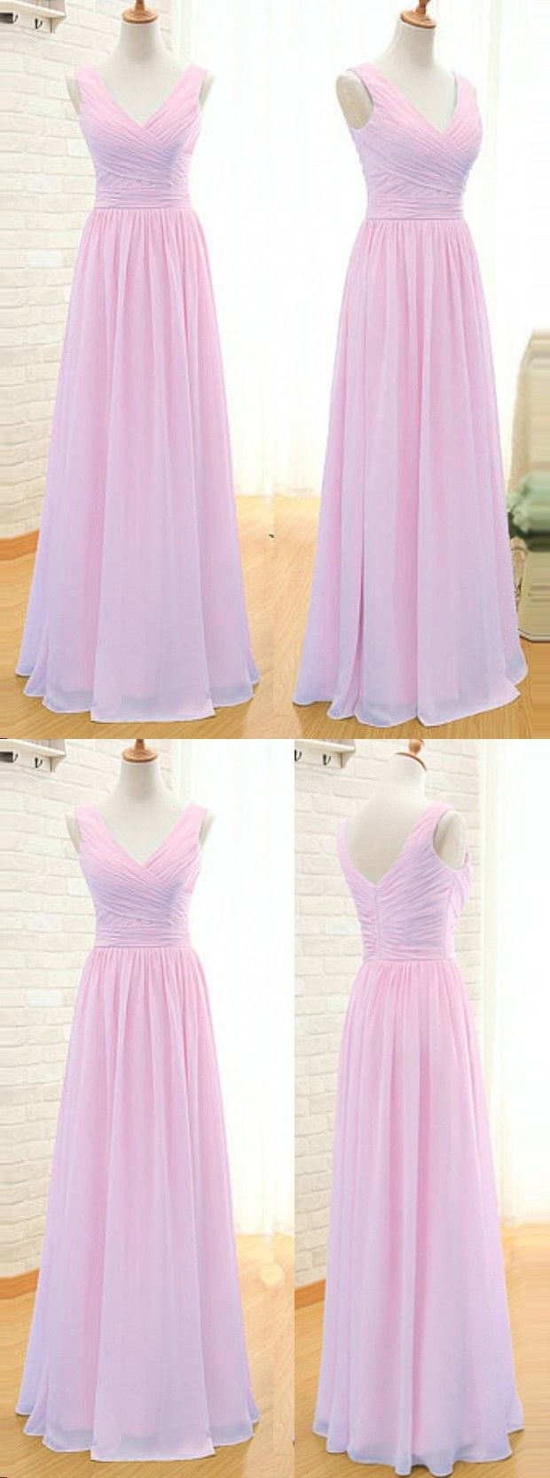 pink bridesmaid dress long bridesmaid dress v-neck bridesmadi dress