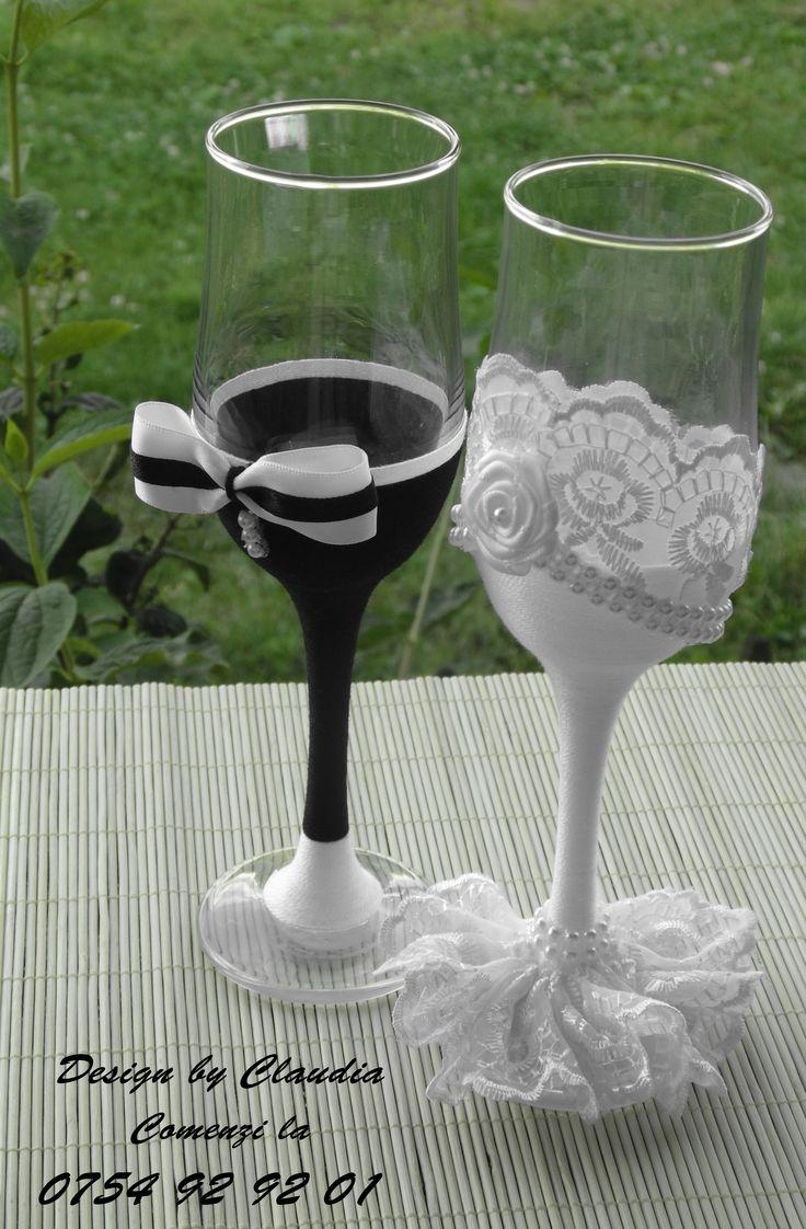 Pahare decorate handmade pentru evenimente speciale...! Pahare nunta /Handmade weedding glasses...!
