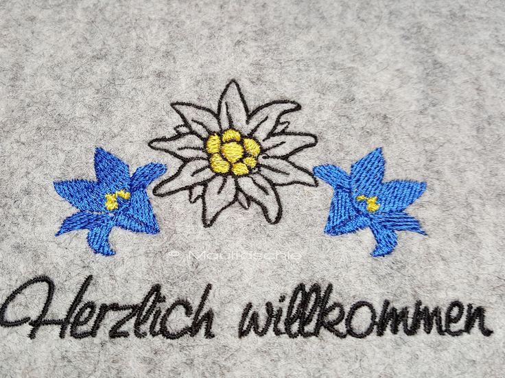 #GÄSTEMAPPE #Wollfilz #bestickt #Enzian #Edelweiß #Alpenlook design by Bruni Wallner www.maultaeschle-filz.de
