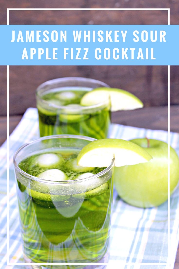 My Jameson Whiskey Sour Apple Fizz Cocktail recipe is the perfect St. Patty's Day cocktail. It is also a great signature Jameson Whiskey drink idea for your next party.