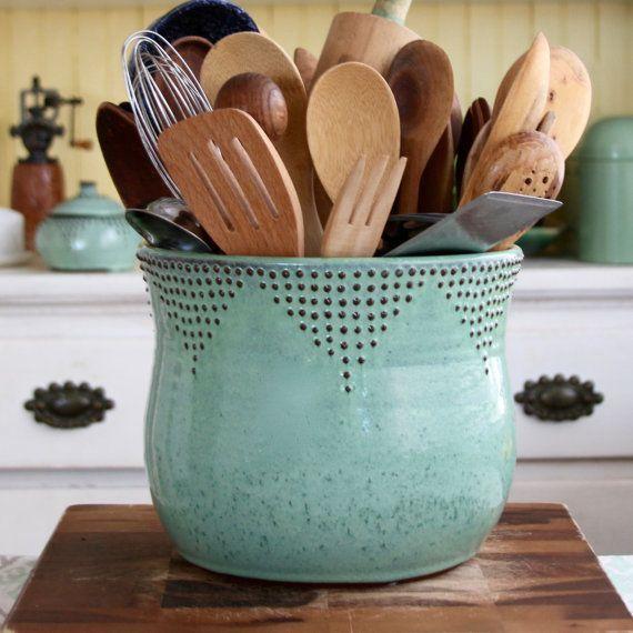 Jumbo Utensil Holder Aqua Mist Crock Flower Pot Kitchen Decor Hand Thrown Vase Modern Home Decor Made To Order With Images Vintage Kitchen Decor Pottery Handmade Pottery