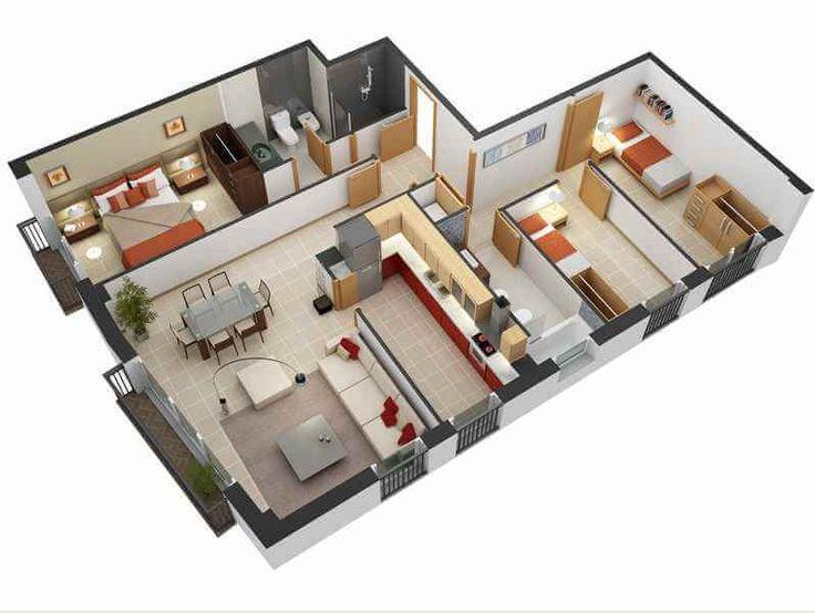 desain rumah minimalis 1 kamar tidur utama dan 2 kamar tidur standar