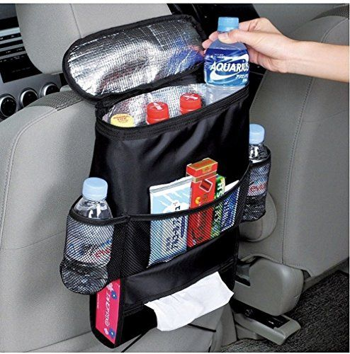 Crusar Car Seat Organizer/Auto Seat Back Organizer/Multi-Pocket Travel Storage Bag/Insulated Car Seat Back Drinks Holder Cooler / Storage Bag Cool Wrap Bottle Bag with Mesh Pockets