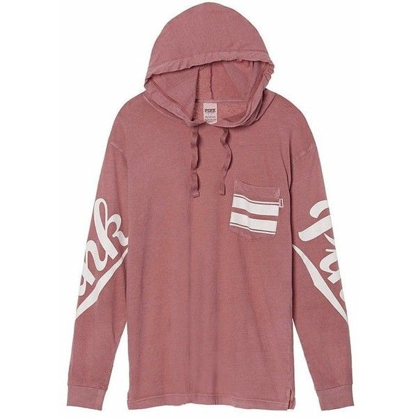 Victoria's Secret PINK Campus Hoodie Tee at Amazon Women's Clothing... ($58) ❤ liked on Polyvore featuring tops, t-shirts, red top, victoria secret pink t shirts, red tee, red t shirt and victoria secret pink tops