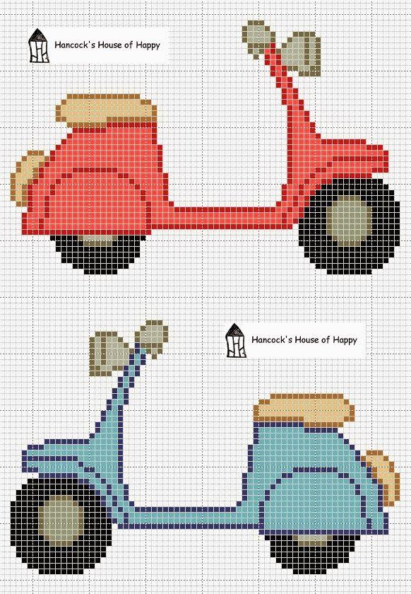 Free Vespa Scooter Cross Stitch Chart