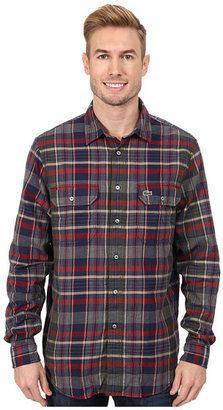 Lacoste L/S Plaid Flannel Woven Shirt - Shop for women's Shirt - Boreal Blue/Camouflage Kaki/Oxide Red Shirt