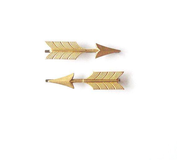 Gold Chevron Arrows - Arrow Bobby Pins - Cute - Adorable - Boho Bohemian - Indie - Minimal Minimalist Fashion - Tribal - Statement - Hipster. $38.00, via Etsy.