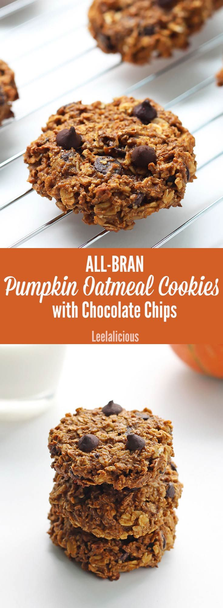 Wholesome Pumpkin Oatmeal Cookies with Chocolate Chips and All-Bran cereal for an extra fibre boost! The recipe for these yummy healthy treats uses whole wheat flour and no refined sugar. AD
