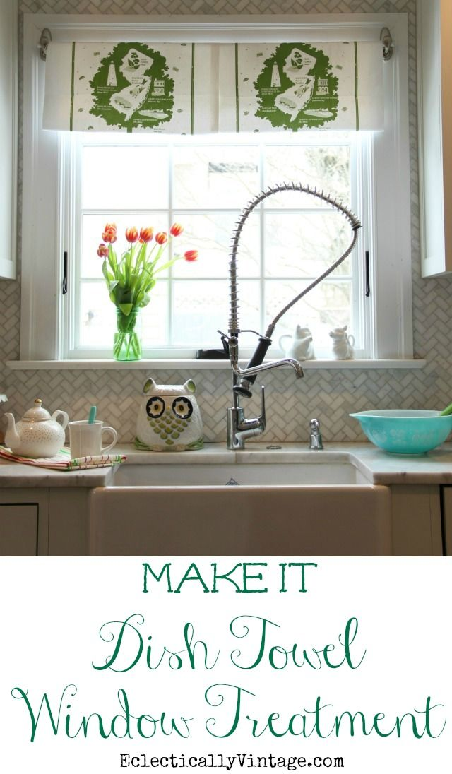 Make this fun DIY Dish Towel Window Treatment - best part, no commitment when you want to remove it! eclecticallyvintage.com #bHomeApp