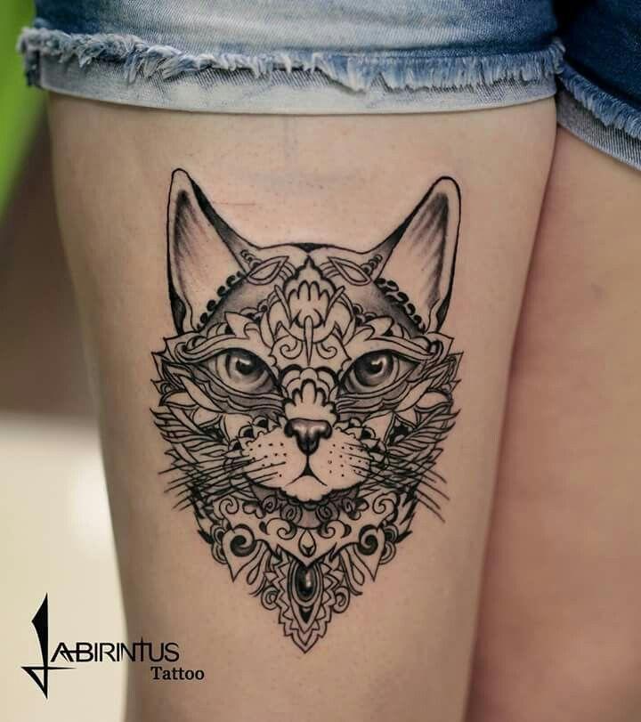 And another great cat tattoo – tattoo templates – # one # cat tattoo #noch …   – Katzen