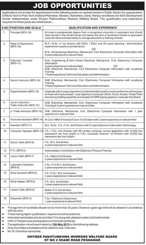 Head Of Dpt,Clerk,Accounts Assistant Jobs In Poly Techno Institute