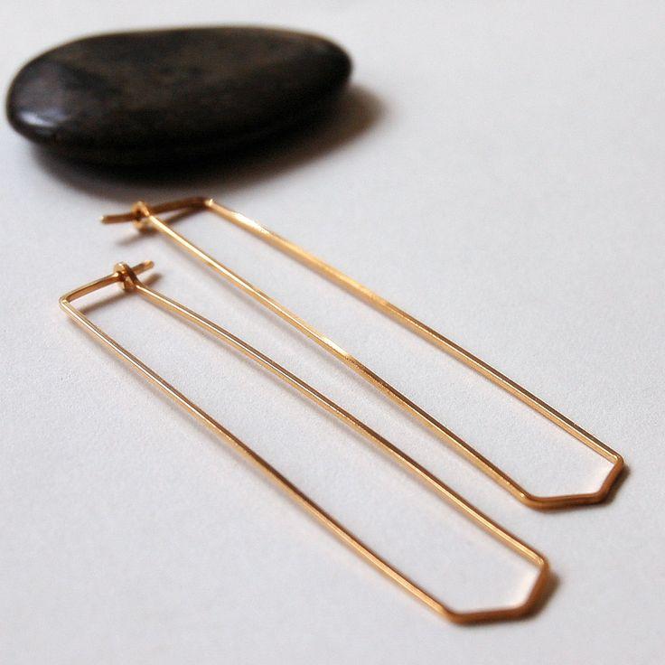 Thin South Hoop Earrings in 14K Gold Filled - Simple, Modern Jewelry.  Narrow Hoop. Angled Slim Hoops, Arrow. $49.00, via Etsy.