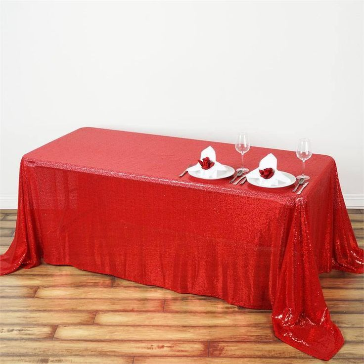 """90x132"""" Wholesale Red Sequin Rectangle Tablecloth For Banquet Wedding Party"""
