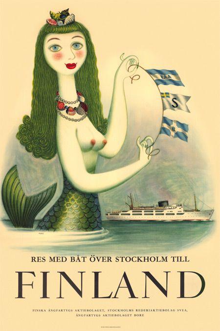 """* Come to Finland vintage postcard // """"res med båt över Stockholm till Finland"""""""