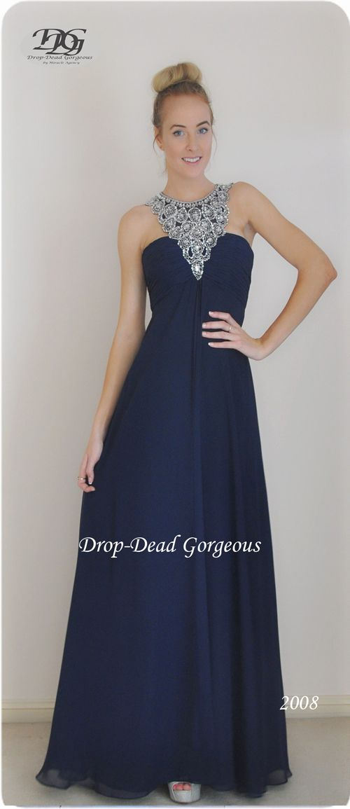 Drop-Dead Gorgeous 2016 Collection School Formal and Bridesmaids Dress:   Gorgette gown with a triangle beaded neckline and an open low back. #DDGMA #DropDeadGorgeous #MiracleAgency #Schoolformal #Maids  www.miracleagency.net