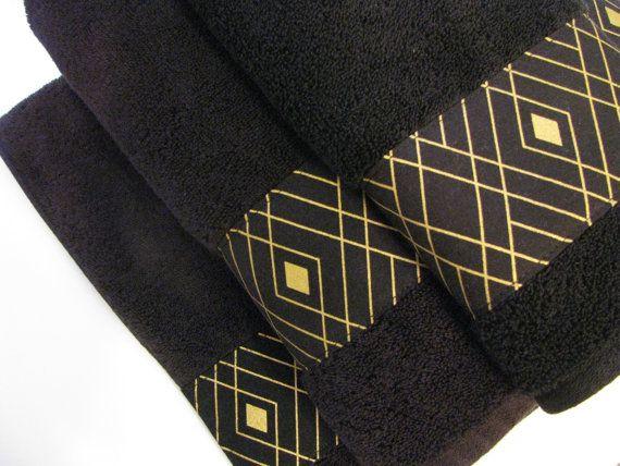 Black Gold Towels Custom Towels Black Bathroom Black Towels