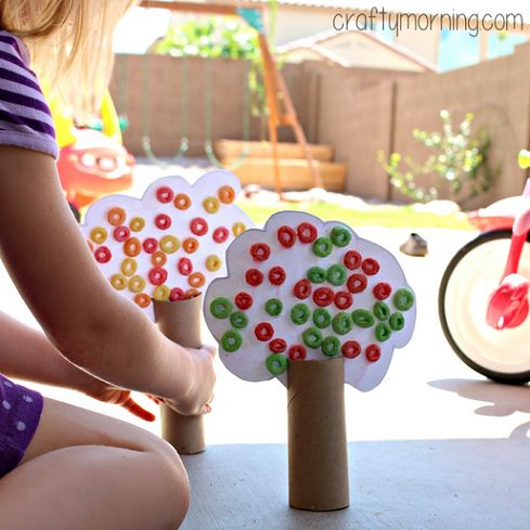 Learn how to make toilet paper roll fall tree crafts for kids! You will use fruit loops as the leaves and make an apple tree too.