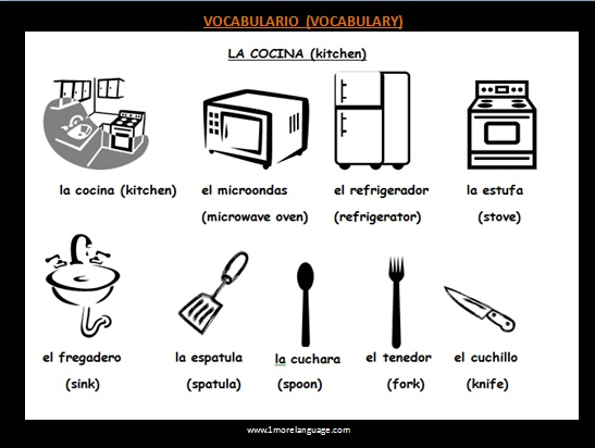57 best images about familia y casa on pinterest spanish for Kitchen utensils in spanish