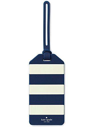 Kate Spade New York Luggage Tag, Rugby Stripe, Navy/White (165630) ❤ Lifeguard Press