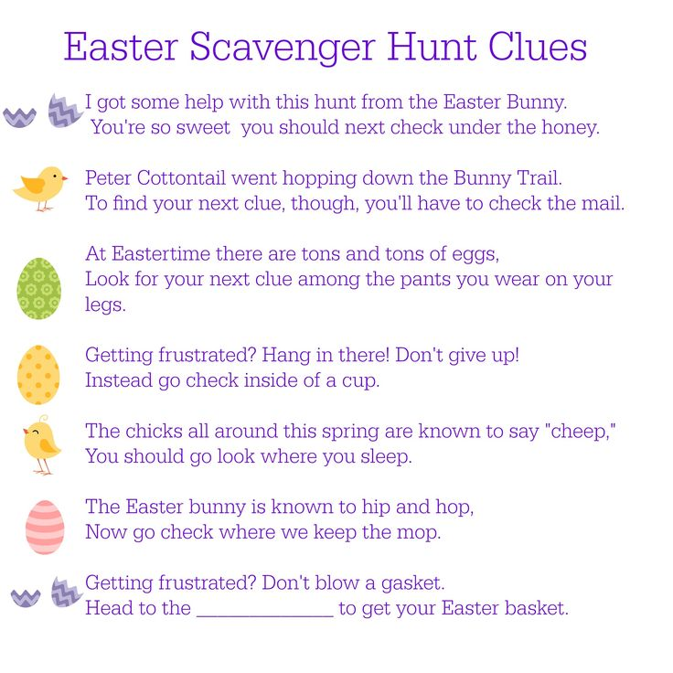 clues for easter scavenger hunt - Google Search