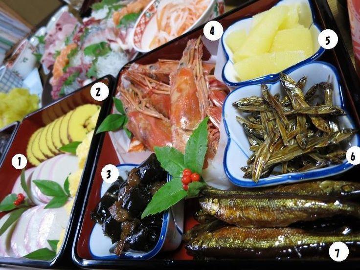 """1-蒲鉾(KAMABOKO) <fish cake> Traditionally, slices of red and white Kamaboko are alternated in rows or arranged in a pattern. The color and shape are reminiscent of the rising sun, and have a celebratory, festive meaning. 2-伊達巻(DATEMAKI) <sweet omlet> They symbolize a wish for many auspicious. 3-昆布巻き(KOBUMAKI) <simmered konbu rolls> """"Kobu"""" is associated with the Japanese word """"Yorokobu"""", meaning """"joy""""."""