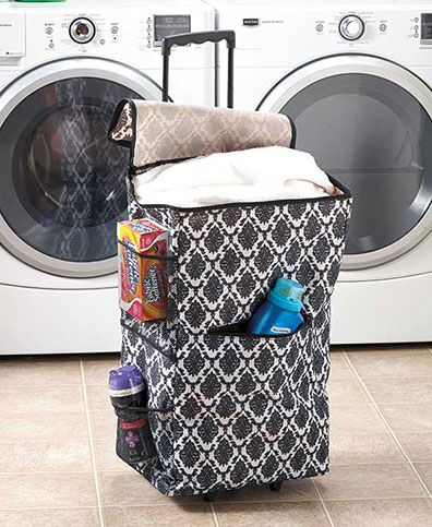 This Portable Rolling Hamper makes laundry less of a chore with its easy-to-use, all-in-one design. Its adjustable handle and 2 wheels make taking clothing to the laundromat or even to the next room much easier. The lid of the hamper secures with a zippe